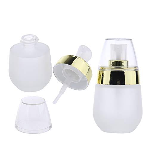Bonarty 2pcs Mini Maquillage Cosmétique Verre Givré Pompe Pompe Vide Lotion Vaporisateur 30ml - Doré