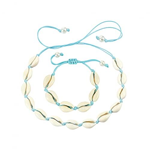 Shulcom Conjunto de Pulsera de Collar de Concha de Cadena Trenzada de Concha Natural, Pulsera de niña, Regalo Ajustable
