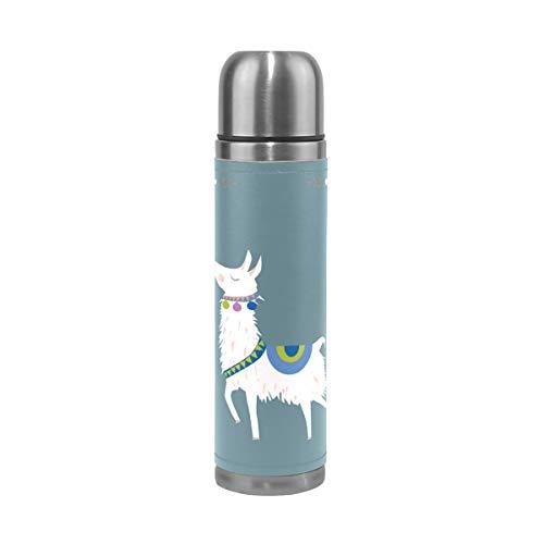 MNSRUU Bouteille d'eau à double paroi en acier inoxydable avec motif alpaga Llama 500 ml