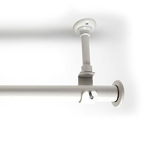 RoomDividersNow 56in-108in Hanging Curtain Rod with Brackets, White