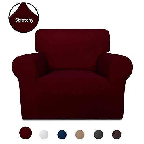 PureFit Super Stretch Chair Sofa Slipcover – Spandex Non Slip Soft Couch Sofa Cover, Washable Furniture Protector with Non Skid Foam and Elastic Bottom for Kids, Pets (Chair, Wine)
