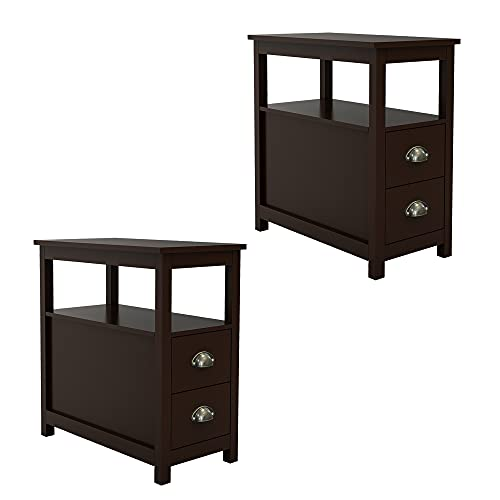 4everwinner End Table Set of 2 with 2 Storage Drawer and Open Shelf for Living Room, Narrow Side Table for Bedroom, Nightstand, Espresso