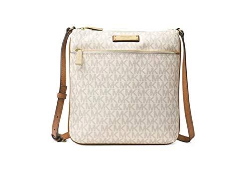 Michael Kors Jet Set Small Leather Flat Crossbody Handbag,Vanilla/Gold