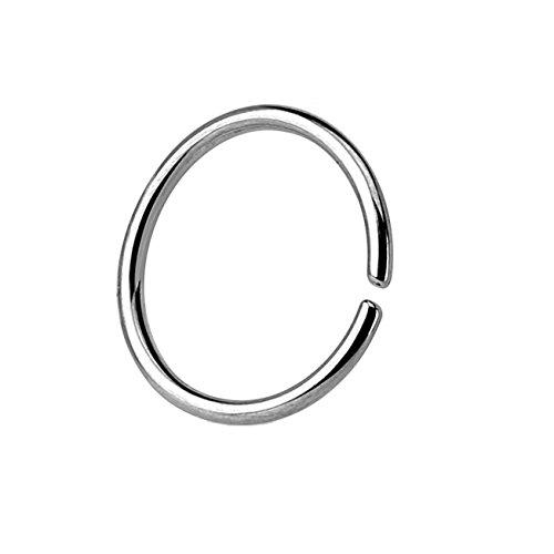 Paula & Fritz® runder biegbarer UNIVERSAL Fake Hoop Ring 6mm lang 0.8mm dick Silber Segmentring Septum Tragus Helix Cartilage Nasen-Piercing Ohrklemme Nostril Chirurgenstahl Titan