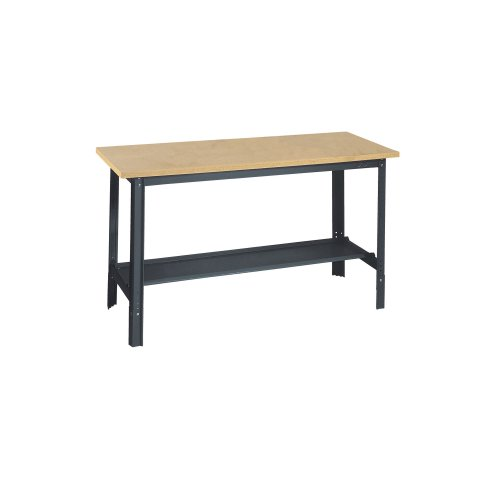 "Edsal UB400 Industrial Gray Heavy Gauge Steel Economy Work Bench with 1"" Flake Board Shelf, 48"" Width x 29"" Height x 24"" Depth"