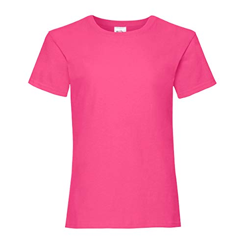 Fruit of the Loom - Mädchen T-Shirt 'Girls Valueweight T' Age 7-8,Fuchsia