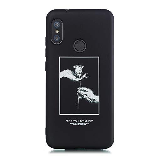CUAgain Funda Compatible con Xiaomi Mi A2 Lite/Redmi 6 Pro Silicona Dibujos Motivo Negro Kawaii Ultrafina One Piece Carcasa Mi A2 Lite Case Antigolpes Bumper Protección Resistente Cover,Rosa