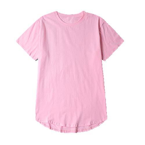 U/A arc Hem t Shirt Longues Surdimensionné Manches Courtes T-shirt Coton - Rose - L