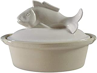 (D) Manufacture de Digoin French Hand Made Fish Terrine White, Vintage