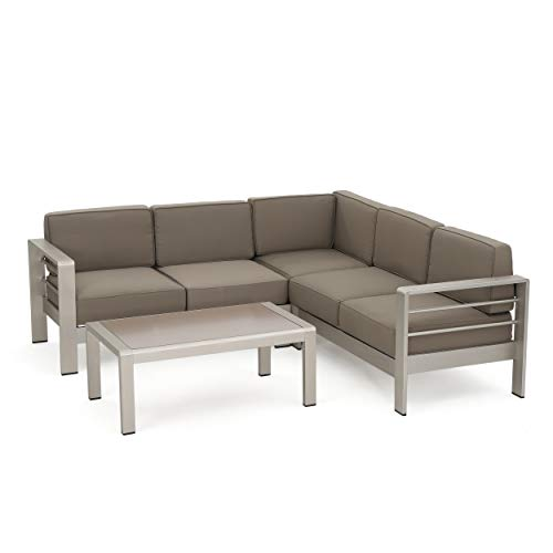 Christopher Knight Home Cape Coral Waterproof Cushion Aluminum Sofa Set with Glass Table, Khaki