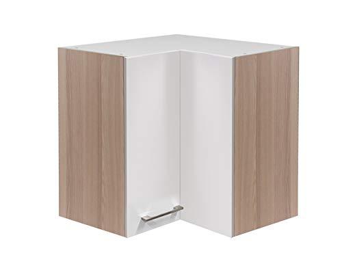 MMR Hängeschrank Küche DERRY, Eckhängeschrank, Eckschrank, 2-türig, verstellbarer Einlegeboden, 60 cm breit, Perlmutt Weiß