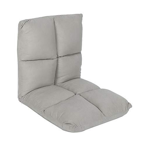 Klappbar Bodenstuhl, Ergonomischer Meditationsstuhl aus Stoff Fauler Stuhl mit Rückenlehne für Zuhause und Büro, 100 x 47 x 10 cm(Gray)