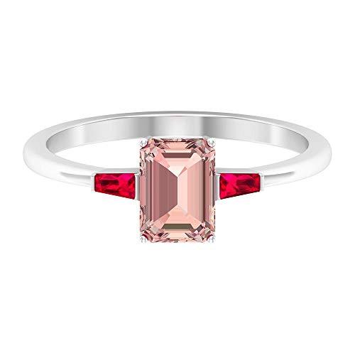 Anillo de compromiso de oro de 14 quilates para mujeres, corte octágono de 2 quilates, morganita creado en laboratorio con anillos de rubí, tres anillos de piedra, 14K Oro blanco, Size:EU 55