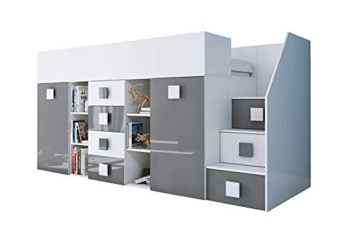 KRYSPOL Etagenbett für Kinder TOLEDO 3 Stockbett mit Treppe, Schreibtisch, Bettkasten (Weiß/Weiß Glanz + Grau Glanz, Seite: rechts)
