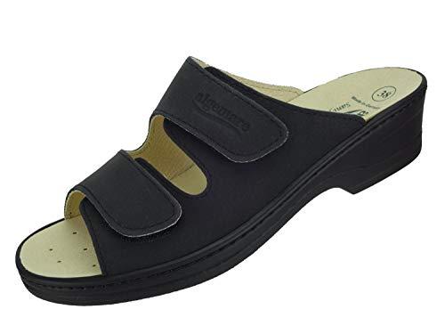 Algemare Damen Pantolette Asche Nubuk Keilpantolette mit Sani-pur Wechselfußbett Made in Germany 14462_0606 Freizeitschuhe Sandale, Größe:39 EU