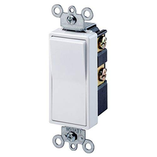 Leviton 5604-2W 15 Amp, 120/277 Volt, Decora Rocker 4-Way AC Quiet Switch, Residential Grade, Grounding, White