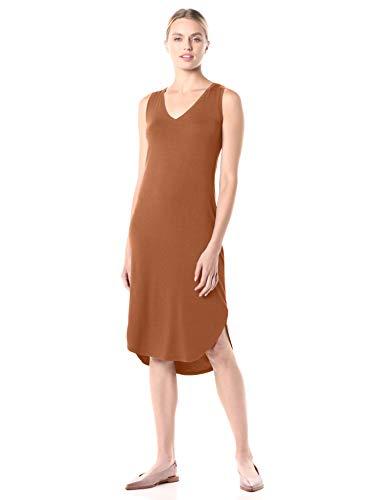 Amazon Brand - Daily Ritual Women's Jersey Sleeveless V-Neck Midi Dress, Caramel, Medium