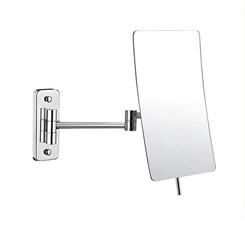 MTXJ Specchio Ingranditore da Parete X3 e Specchio Piatto, Girevole 360 °, Allungabile e Finitura Cromata per Bagno, Spa, Hotel Specchietto da Trucco
