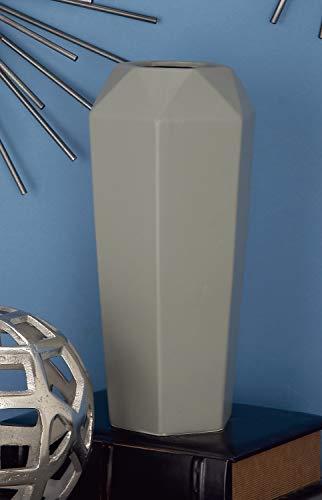 "Deco 79 60775 Paneled Diamond-Shaped Ceramic Vase, 14"" x 6"", Gray"