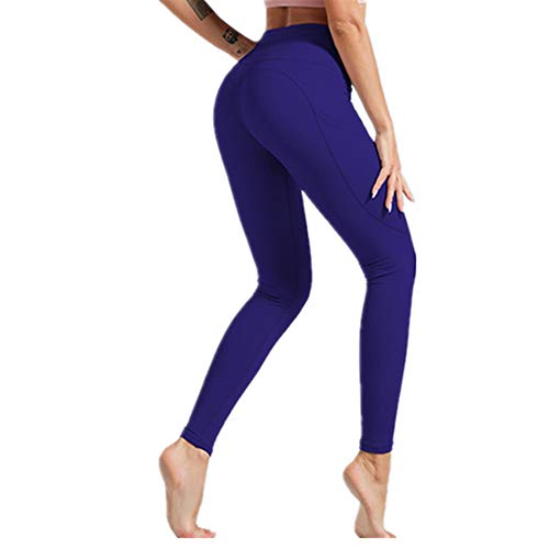 Fyj Yoga Pants Women's High Waist Leggings - Tummy Control Gym Workout Running Stretch Fitness Sports Leggings Stretch for Women with Pockets Soft Casual Yoga Fitness Gym Elasticated 2020 L