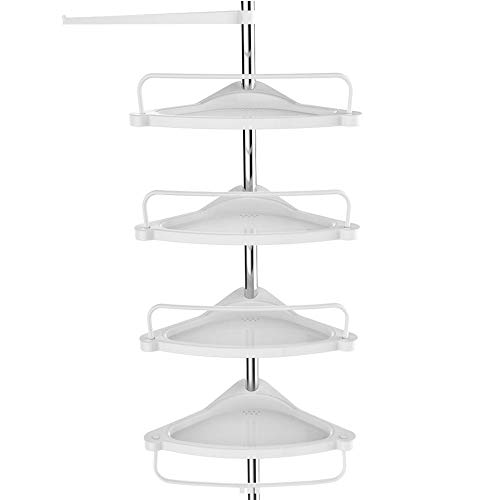 SONGMICS doucheplank in hoogte verstelbaar, hoekplank voor badkamer, badkamerplank, 95-300 cm, vloer tot plafond, roestvrij staal, 4 planken, 3 haken, 1 handdoekhouder, wit-zilver BCB02SW