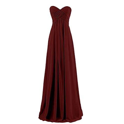 Lemai Sweetheart Pleats Long A Line Corset Formal Women Prom Bridesmaid Dresses Burgundy US18W