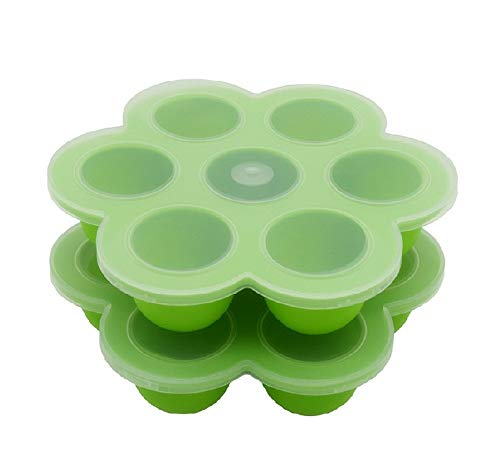 Egg Poachers Silicone Egg Bites Molds - Fits Instant Pot 5,6,8 qt Pressure Cooker, 7Cups Instant Pot Accessories with Silicone Clip-On Lid(Green, Pack of 2)