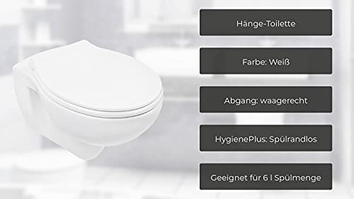Wand-WC-Set Jonas | Spülrandlos | Inklusive WC-Sitz | Tiefspüler | Weiß | Spülrandlose Toilette | Spülrandloses Hänge-WC | Hängetoilette | Hygiene Plus | einfache Reinigung - 3