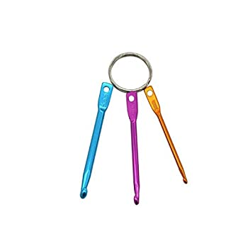 Mini Aluminum Keychain Crochet Hooks 3pcs Suitable for Yarn Knitting and Sewing Perfectly for Pro or Beginners 3mm,4mm,5mm .