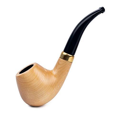 Imagen del productoDr. Watson - Pipa de tabaco de madera, forma de manzana doblada clásica, se adapta a filtro de 9 mm, viene con bolsa, en caja (natural)