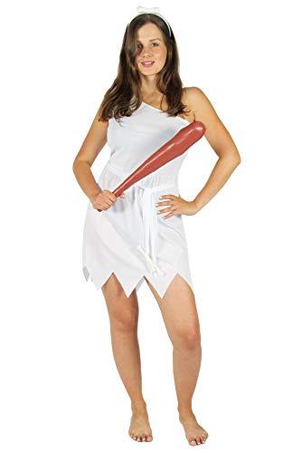 Foxxeo weißes blaues Steinzeit Damen Kostüm für Fasching und Karneval Paarkostüm Partnerkostüm Erwachsene Größe L