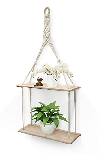 Afuly Hanging Shelf Plant Wall Shelf Boho Chic Decor Cute 2 Tier Cotton Rope Floating Shelves Macrame for Bedroom Bathroom Living Room
