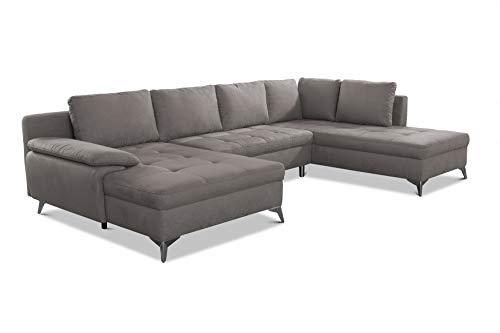 CAVADORE Wohnlandschaft Lina U-Form Sofa mit Longchair, Ottomane und Steppung im Sitz / 326 x 85 x 201 / Mikrofaser: Hellgrau