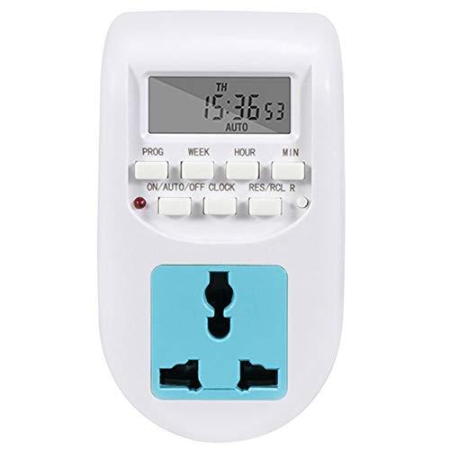 Gesh Temporizador digital programable con pantalla LCD, temporizador electrónico, reloj para casa, jardín, enchufe europeo