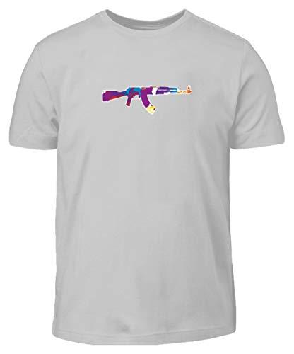 Gewehr, Schuss, Schießen, Waffe, Schusswaffe, Schießgewehr, Computerspiel, Spiele, Gamer - Kinder T-Shirt -12/14 (152/164)-Pazifik Grau