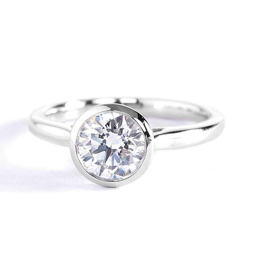 Anillo de compromiso de platino con diamante solitario redondo SI2 F de 1 quilate