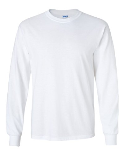 Gildan Ultra Cotton 6 oz. Long-Sleeve T-Shirt, Large, WHITE