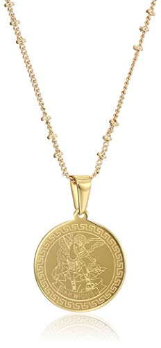 Saint Michael Archangel Necklace'18 Inches' Stainless Steel 18K Gold Plated Pendant