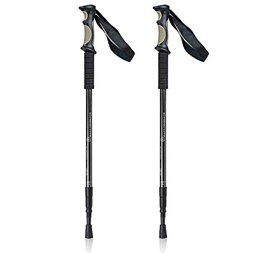 Bafx Products Trekking Walking Hiking Poles Adjustable for All Heights, Durable & Lightweight Aluminum (Black)