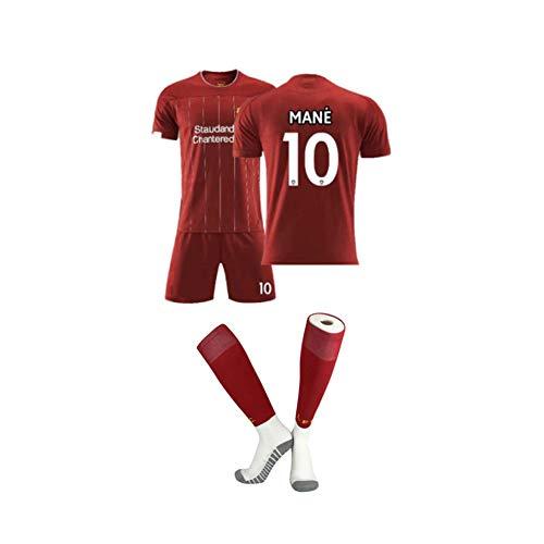 PAOFU- Hombres Niños Liverpool FC 2019-20 Conjunto de Camisetas de Fútbol para Aficionados,Mohamed Salah/Sadio Mane/Roberto Firmino Fans Soccer Jersey,10#,6 Years