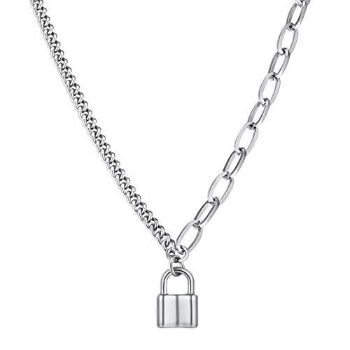 ChainsHouse Schloss Y-Kette Damen Y-Necklace mit Anhänger Schloss mit Geschenkebox