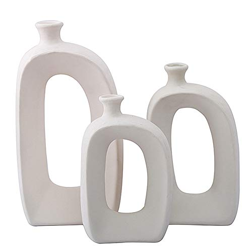 Anding White Ceramic Vase - 3 Set Vases. Matte Design - Modern Vase Decoration. Perfect Home Decoration Vase (LY688set)