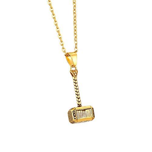 Cupimatch Herren Edelstahl Halskette, Thor Hammer Anhänger Hochglanz Poliert mit 55cm Kette, Gold