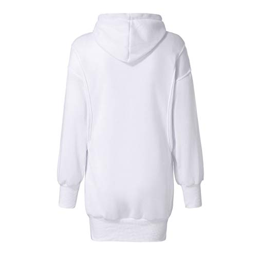 Sale Women Hoodies TUDUZ Ladies Fashion Solid Color Baggy Long Hooded Sweatshirt Loose fit Front Pocket Pullover Hoody Coat (White,M=UK(16))