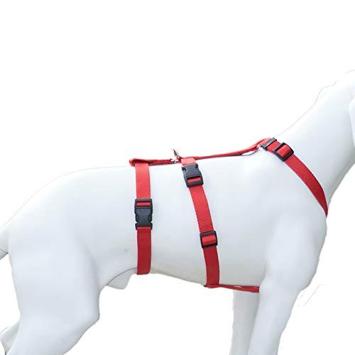 Feltmann NoExit Hundegeschirr® - ausbruchssicher, Panikgeschirr, Unifarben Rot, Bauchumfang 30-40 cm, 15 mm Bandbreite