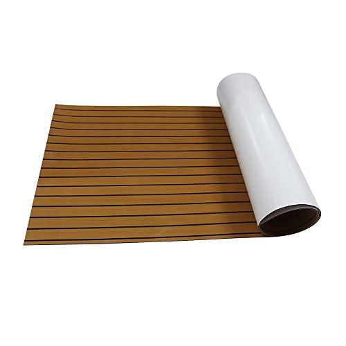 Toogou nuova generazione in schiuma EVA tappetino antiscivolo per pavimenti marine retro con adesivo 3m, in legno di teak sintetico per barche, kayak, 90x240cm Brown with Black stripes