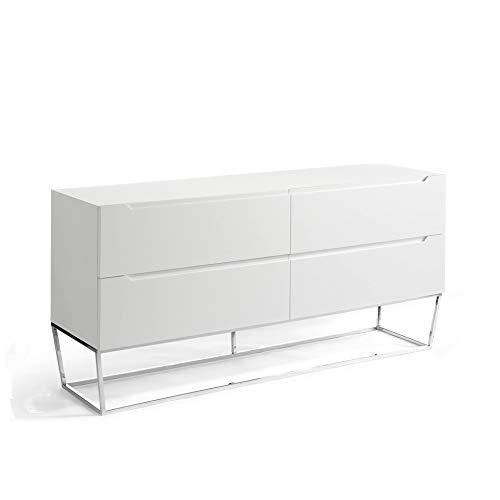 ANGEL CERDÁ | Sideboard aus Holz, weiß lackiert, mit Schubladen-Verzögerungssystem, verchromte Stahlbeine, moderner Stil