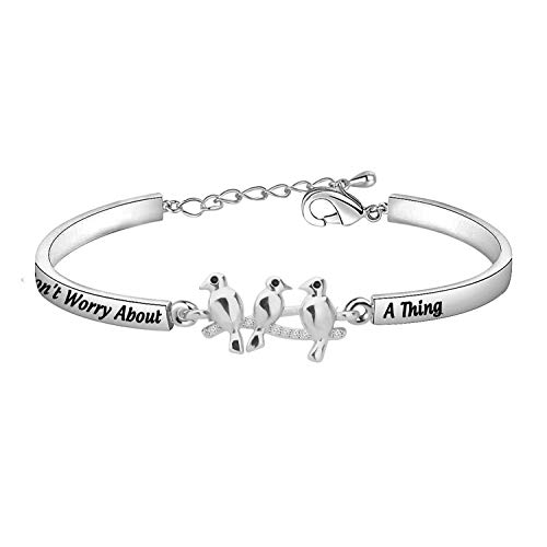 SEIRAA Three Little Birds Jewelry Encouragement Friendship Gifts Don't Worry About A Thing Bangle Inspirational Gifts (Three Little Birds bracelet)