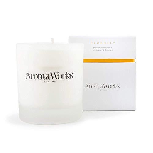 Aromaworks - Serenity Candle - Lemongrass - Neroli and Sweet Geranium Aromas - Comforting Aroma Blends - Uplift - Balance and Focus - Natural - Vegan - Cruelty Free - Medium - 7.76 fl oz