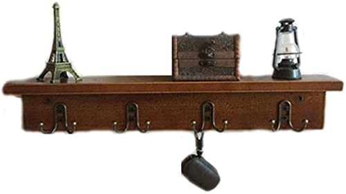 HJW Praktische opbergrek Rustieke Hangende Entryway Plank Kapstok met Dubbele Haken voor Entryway, Hal, Badkamer Woonkamer, Keuken, Bruin 1Huiyang-01020, Punch
